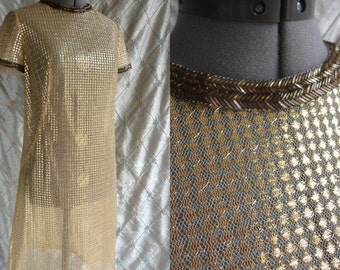 60s Dress // 60s Party Dress // Vintage 1960s Gold See Through  Dress with Beading M L