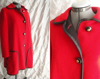 60s Coat // Vintage 1960s Lipstick Red Coat by Royal Mackintosh New England Size L