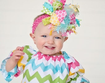 Easter Bow with Pastel Chevron M2N Riley Blake  Over The Top  Bow on matching Headband Free Shipping On All Addional Items