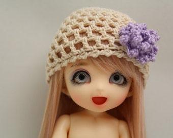 Tan and Lavender Crochet Hat for Pukifee BJD, Lati Yellow