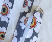 D Ring Belt, womens belt,  gray floral, m/l, ready to ship