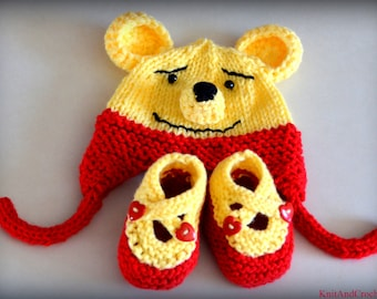 Winnie The Pooh Baby Hat Booties Set Photo Prop  Animal Bear Cartoon Red Yellow NB Newborn Infant Toddler Teddy Ear Flap