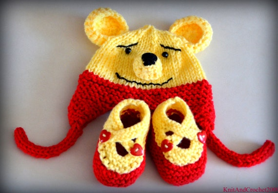 Winnie The Pooh Baby Hat Booties Set Photo Prop  Animal Bear Cartoon Red Yellow NB Newborn Infant Toddler Teddy Ear Flap