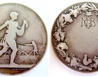 Antique Sterling Art Medal J LaGrange Agriculture GNB NGB Sculpture