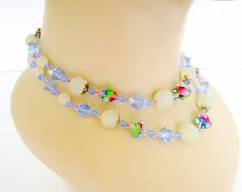 Vintage Crystal Necklace Double Strand Art Glass Beads Blue