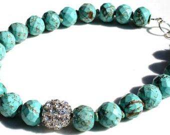 Sea Green Turquoise Swarovski Filigree Handmade Necklace