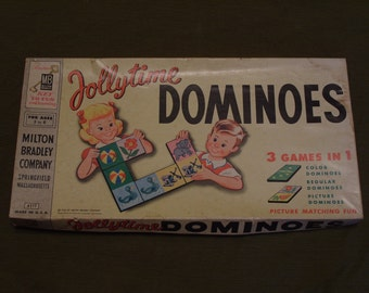 Jollytime Dominoes Vintage 1955 Milton Bradley Game