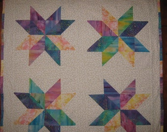 A Star is Born Quilt Hanging, Handmade Starflower Quilt, Wall Quilt, Batik Star Quilt, Handmade Quilt, Hanging Wall Quilt