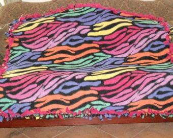 Multi Color Zebra Stripes on Black Red Back Fleece Tie Blanket No Sew Fleece Blanket 48x60 Approximate size