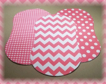 Chevron Burp Cloths Contoured Set of 3 Flannel and Terry Cloth - Riley Blake Pink Gingham Dot