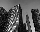 Chicago, Mies Buildings with Hancock Building: Black and White Photo