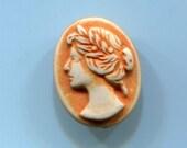 Vintage Oval Buffed Plastic  Ladies Head Button