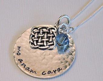 Mo Anam Cara Necklace - sterling silver 1 sided disc - sterling silver chain - Swarovski crystal - sterling silver celtic knot charm