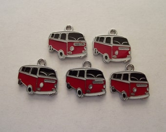 Red and Black Enamel Bus Charms -five vw vans- silver charms