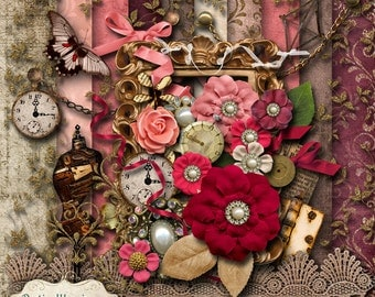 EVERLASTING - Digital Scrapbooking Kit - 10 Papers and 35 Elements -
