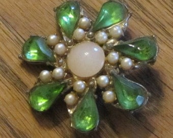 Green Rhinestone and Pearl Brooch Pin Vintage Antique 1930's