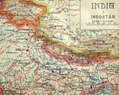 1940 Vintage Map of India, Hindustan, and Maritime Southeast Asia - Vintage India Map - Spanish Map - India Vintage Map