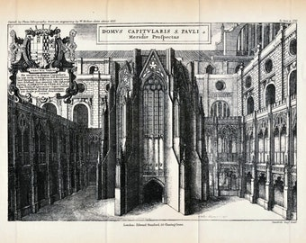1884 Antique Lithograph of the Chapter House of St. Paul's Cathedral, London