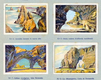1932 Vintage Spanish Sheet of Illustrations on Sea versus Rock. Sheet 20