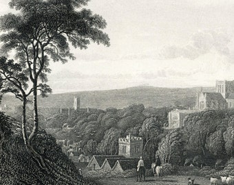 1887 Antique Steel Engraving of the City of Winchester, UK