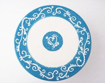 Cake Stand Elegant White on Blue Wedding Valentine - Ready to Ship