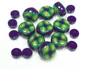 Summer Clearance - Polymer Clay Handmade Bead Set in Purple and Green