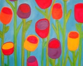 Painting, Tulips, flowers, floral, modern, abstract, funky acrylic painting on canvas