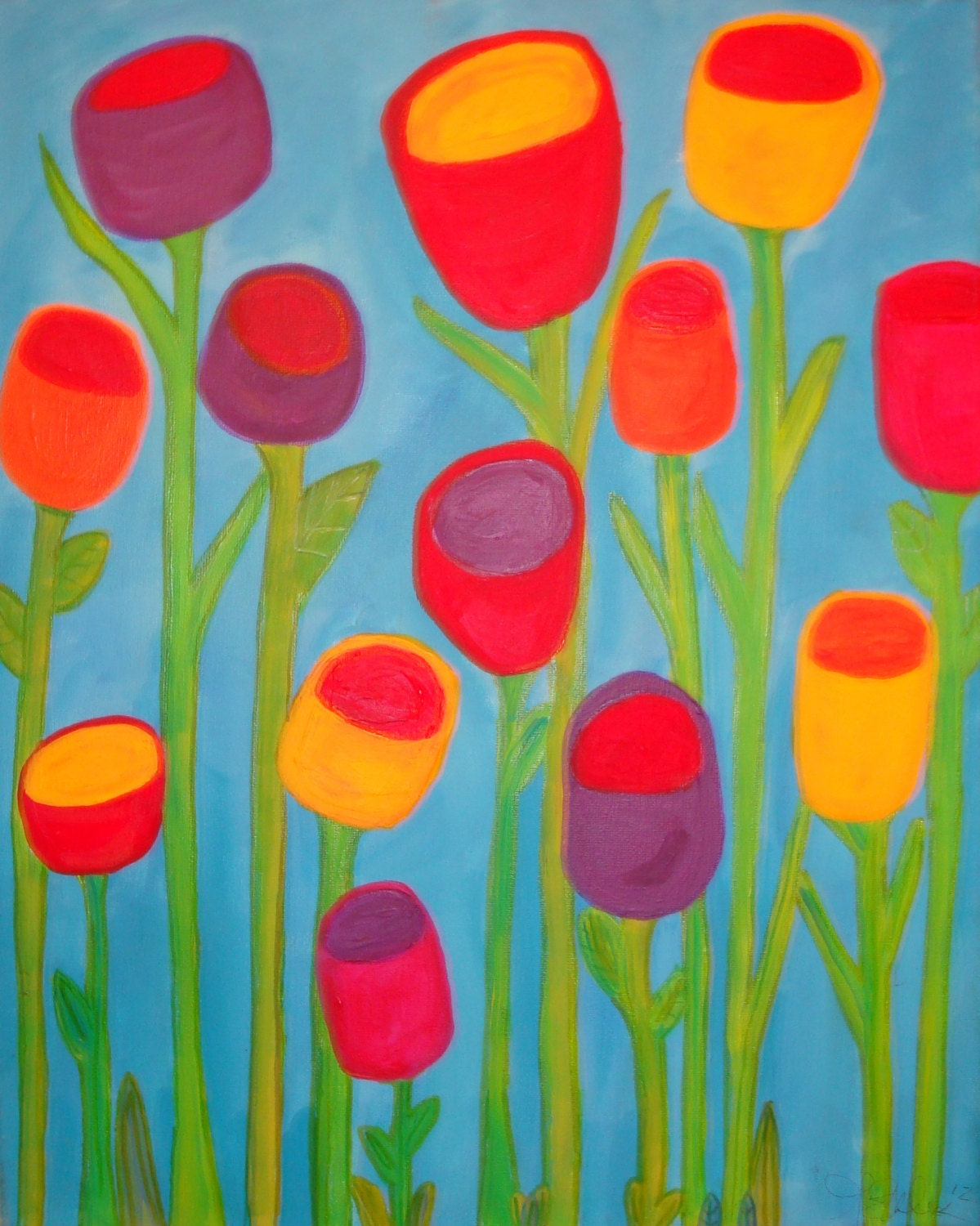 Contemporary flower paintings acrylic for Modern flower paintings