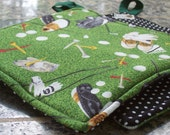 Kitchen Fabric Potholders - Set of 2 - Golf Swing - Green Golf Clubs Tees