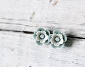 Pale blue and white flower post earrings.  Shabby chic vintage style studs.  Bridal weddings.