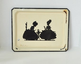 Large Silhouette Enamelware Tray - Girls Having A Tea Party
