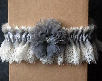 Wedding Garter - Gray Chiffon and Lace Bridal Garter with Flower - Arden
