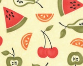COUPON CODE SALE - Moda, Sassy Fruit, Cream, Fruit Fabric, 100% Cotton Quilt Fabric, Cherries, Apples, Watermelon, Quilting