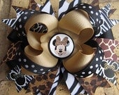 Minnie Mouse Safari Animal Print Hairbow Zebra Leopard Boutique Hair Bow for Disney Animal Kingdom Vacation