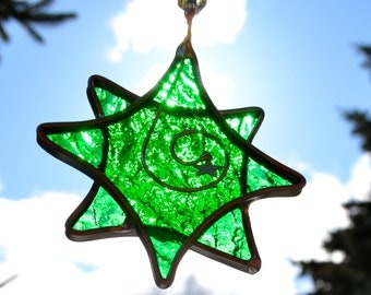 Lucky Green Twinkle Star  Stained Glass Suncatcher