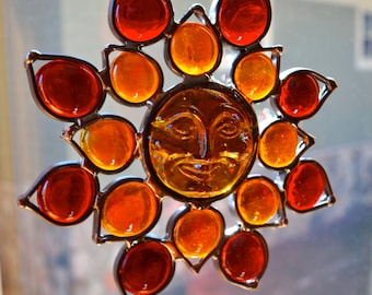 Sunrise Sunface Flower Stained Glass Suncatcher