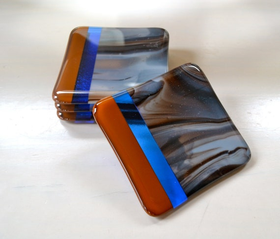 Earth, Sky and Water Fused Glass Coasters