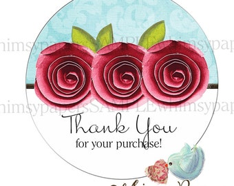 "Personalized Thank You Stickers, Red Rose Labels,  Flower stickers, 1.5. 1.75"", 2 or 2.5 Inch, Glossy Round labels"