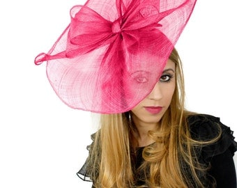 Commodore Fuchsia Fascinator Hat for Weddings, Races, and Special Events With Headband
