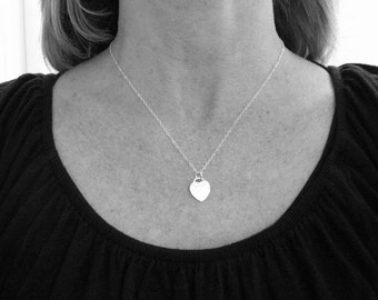 silver heart necklace. hammered heart pendant. sterling silver. simple everyday necklace. delicate. dainty. 1/2 inch. gift for her