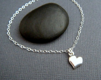 """silver heart necklace. small heart charm. sterling silver. tiny heart jewelry. delicate. dainty pendant. 8 mm heart. just under 3/8"""""""
