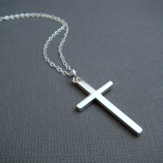 silver cross necklace large sterling silver smooth modern. Black Bedroom Furniture Sets. Home Design Ideas