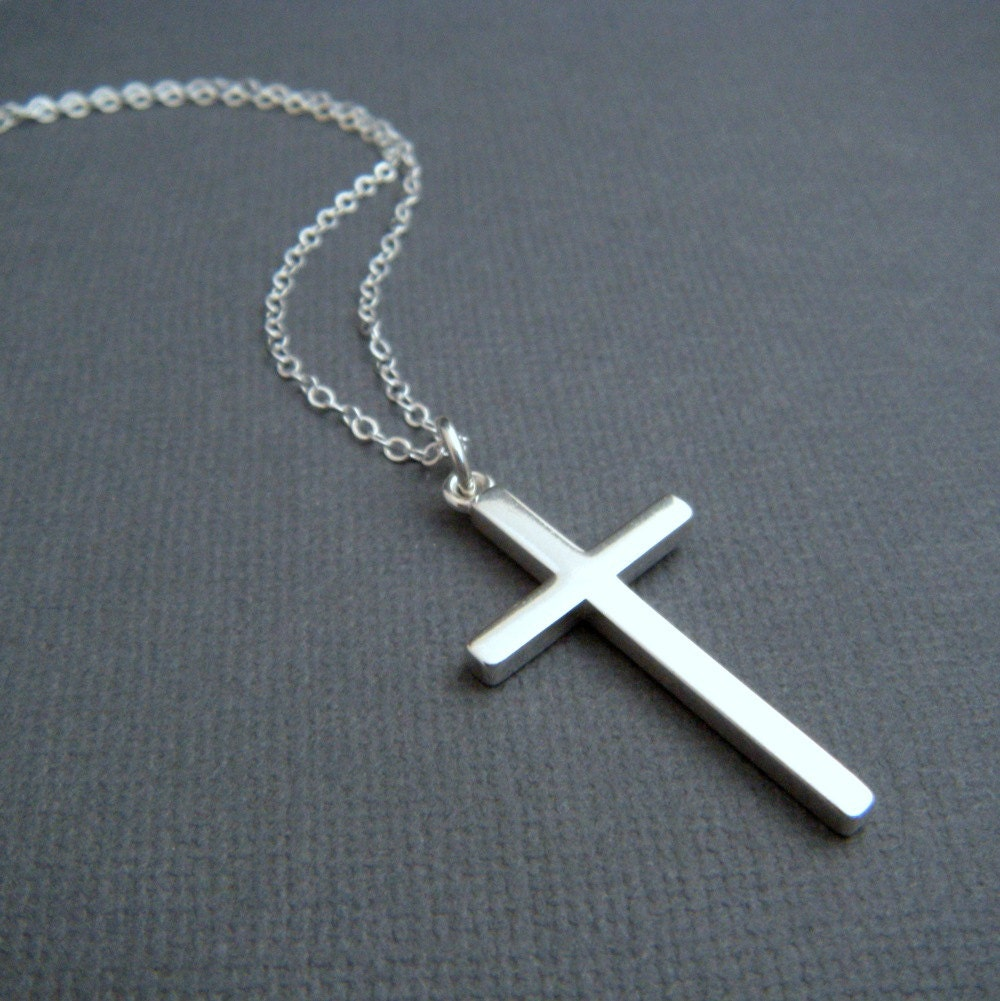 silver cross necklace. LARGE. sterling silver smooth modern