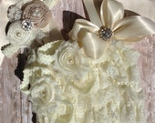 Ulitimate baby Set....Lace romper...baby headband..Barefoot sandals....INfant outfit....photography prop