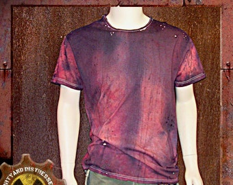 Made to Order a Mens One of a Kind Red and Ruined Dirty and Distressed Wasteland T-shirt