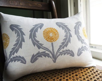 gray and yellow ochre dandelion hand block printed on white linen decorative colorful home decor lumbar pillow case