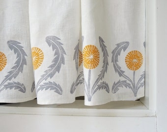 Dandelion Cafe Curtain or Valance by giardino hand block printed botanical gray yellow ochre green coral taupe 57 x 27 inch home decor