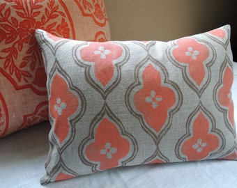 coral and taupe ogee on your choice of color and size linen moroccan decorative home decor pillow cover