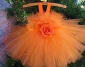ORANGE ROSE TUTU.  Orange Tutu Dress.  Birthday Dress.  Flower Girl Gown.  Party Dress.  Girls Tutu Dress.  Photo Shoots Tutu Dress.