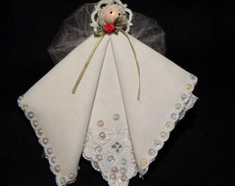Vintage Linen Table Napkin Hand-Embelleshed Christmas Angel